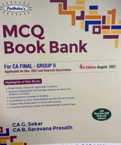 Commercial's MCQ Book Bank for CA Final Group II by G Sekar for Nov 2021 Exam