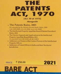 Commercial's The Patents Act, 1970 (Bare Act) - Edition 2021