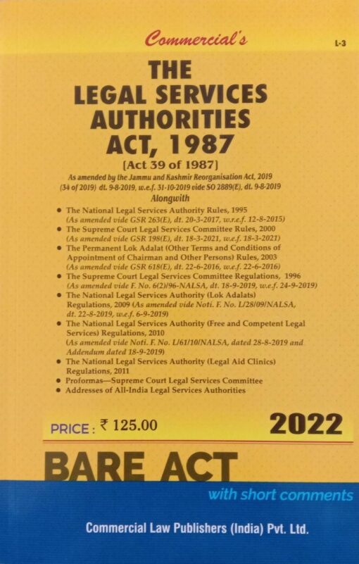 Commercial's The Legal Services Authorities Act, 1987 (Bare Act) - Edition 2022